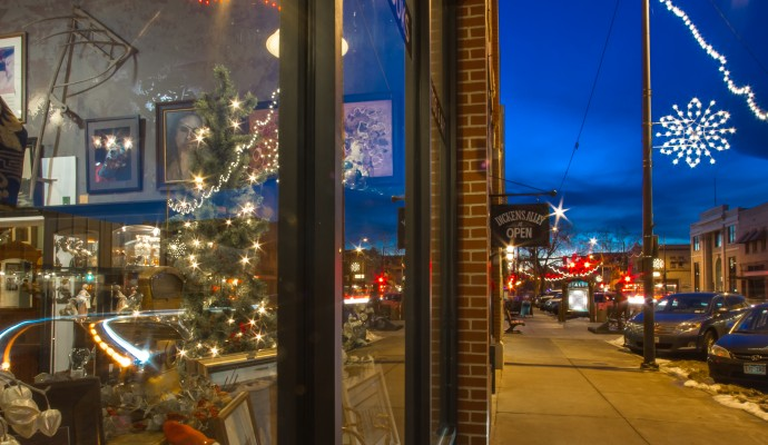 Loveland, Colorado for the holidays. Downtown Loveland, photo by Mike Scholl