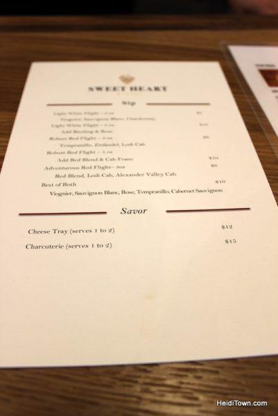 Loveland's New Destination for Wine Lovers, Sweet Heart Winery. Menu